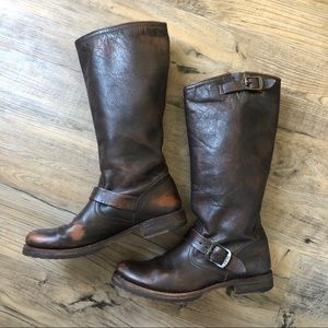 Frye Boots Veronica Slouch Brown Mid Calf Leathr 9